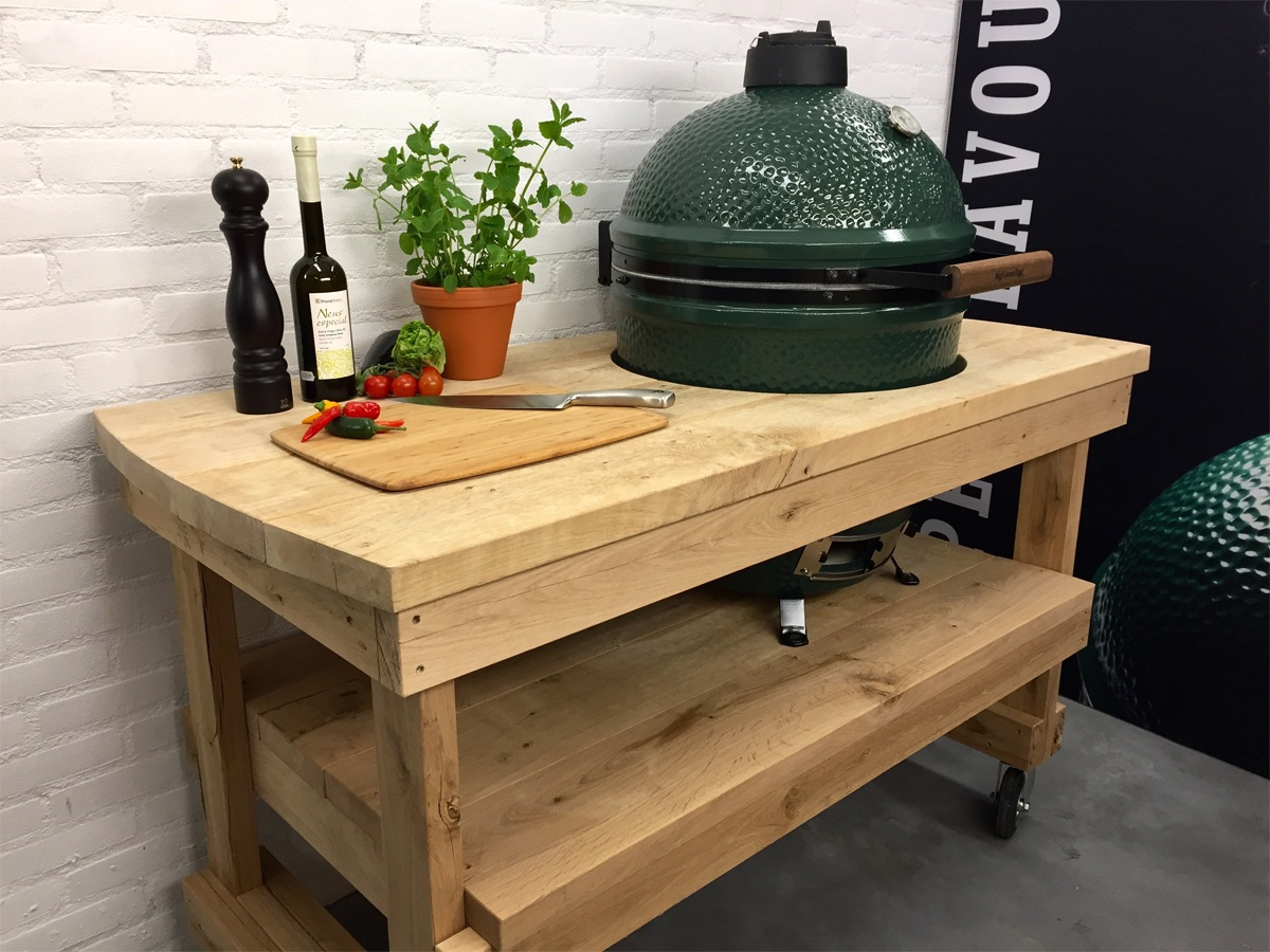 Leuke Tafels Eiken Tafel Big Green Egg Large Beleef Green Egg Dé Big Green Egg Specialist