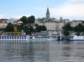 Port of Belgrade seen from Ušće park