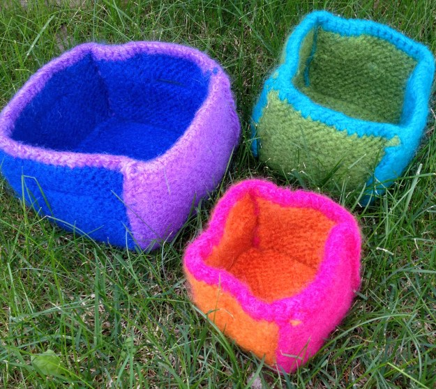 """Felted Boxes"" after felting"