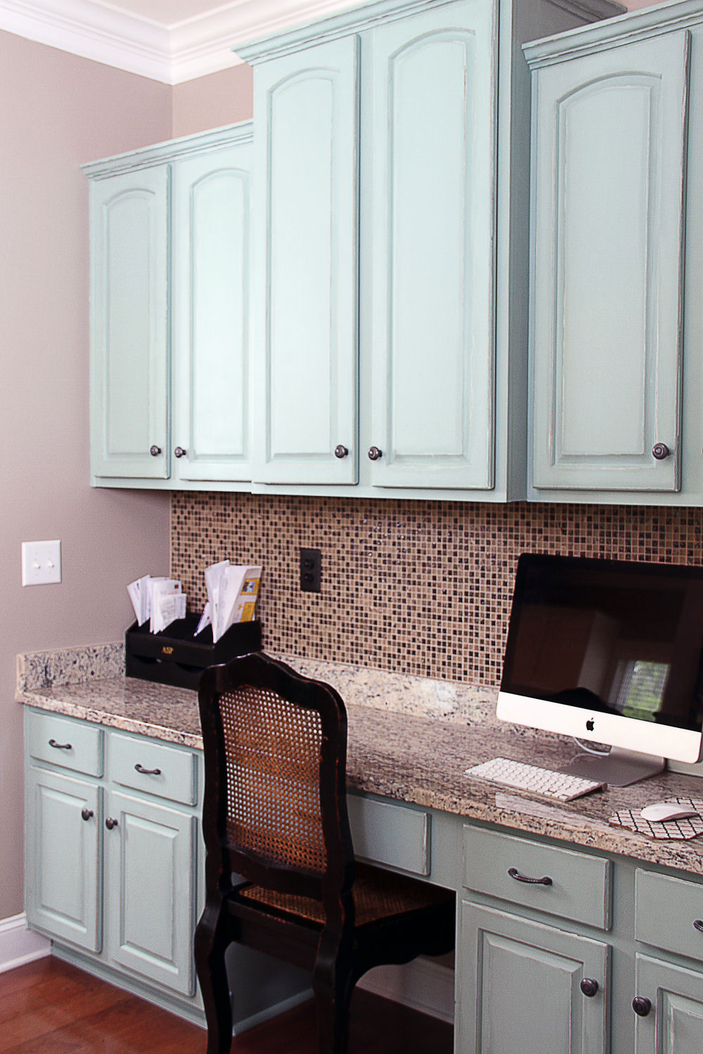 duck egg blue and old white painted kitchen cabinets blue kitchen cabinets Blue desk by Bella Tucker Decorative Finishes