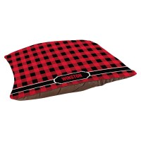 Red Plaid Personalized Dog Bed  Bella Bug