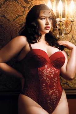 plus size red wine teddy - bella curves lingerie