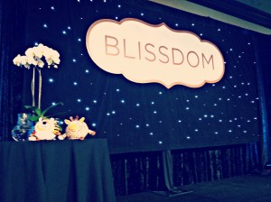 giraffe and tiger on blissdom stage