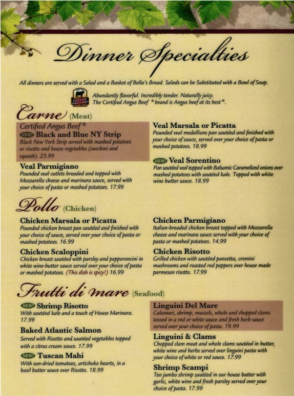 Lunch and Dinner Menus from Bella\u0027s Italian Pizza Place in Banner - italian menu