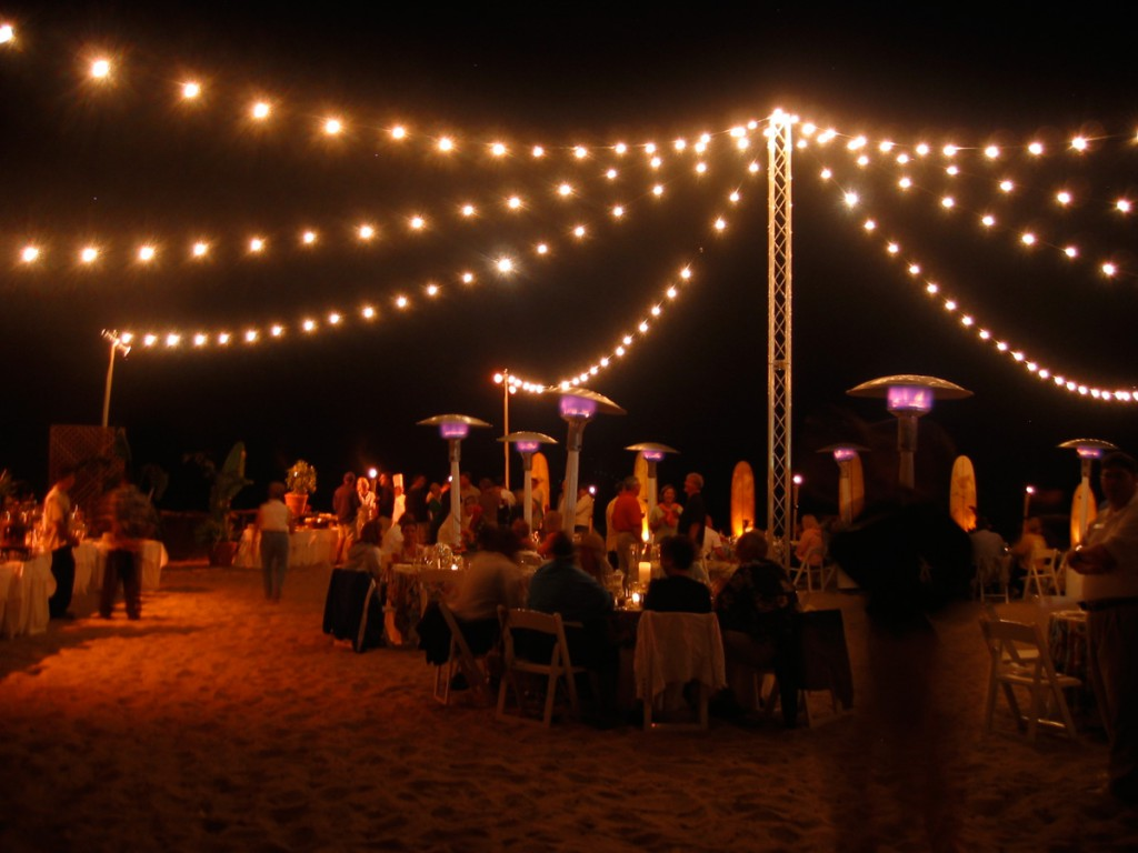 Beach Hanging Lights Beach String Lights From Freestanding Truss Tower Bella