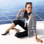 Nautical Striped Cardigan, £69, Silk Headscarf, £35, Navy Capri Trousers, £69