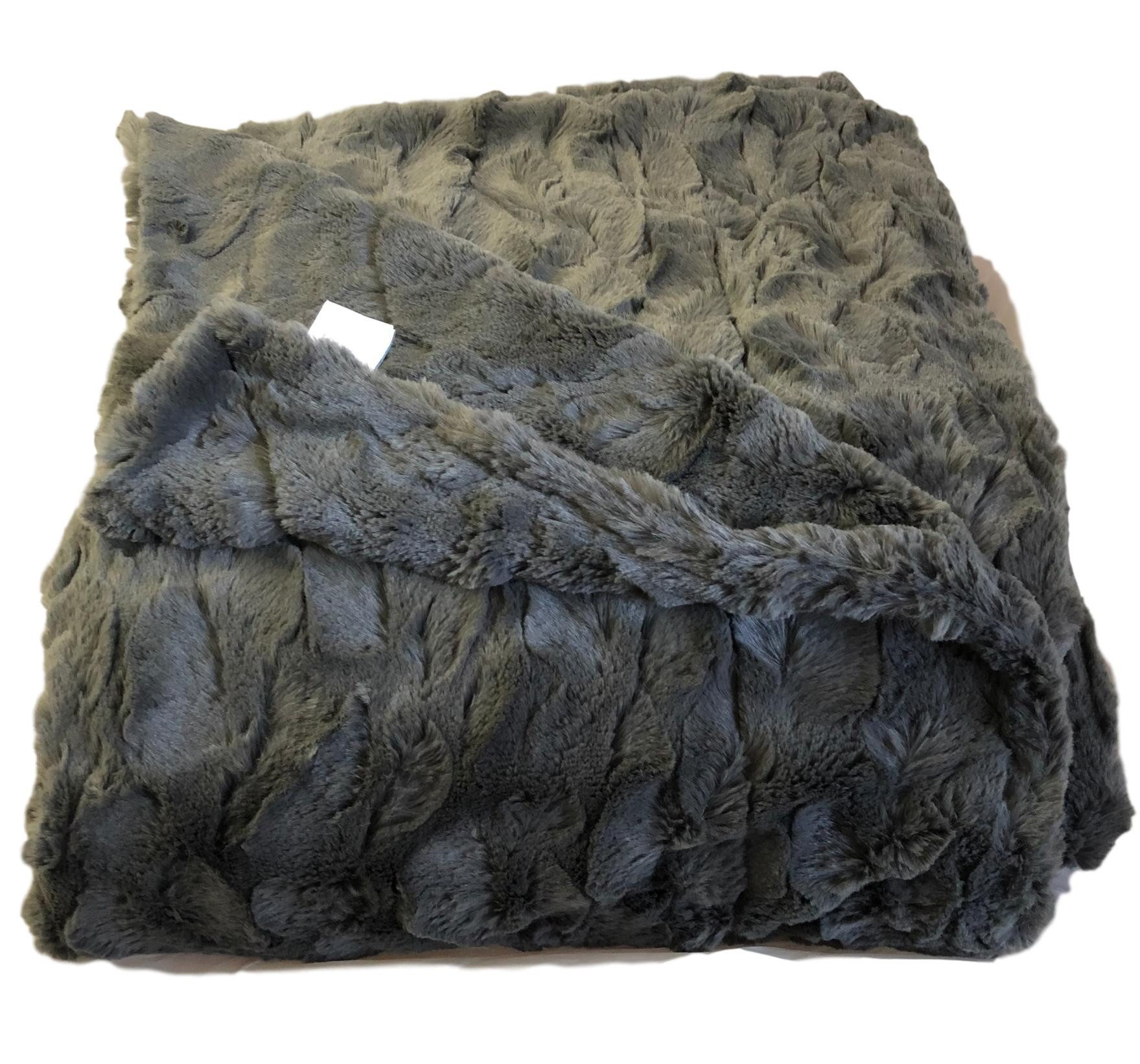 Throw Blankets Charcoal Lux Faux Fur Throw Blanket