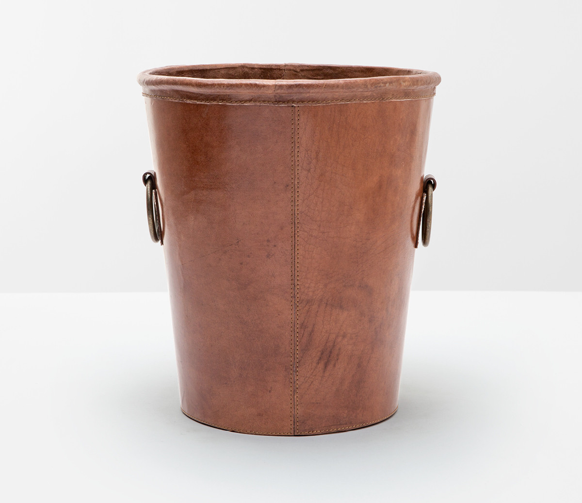 Decorative Metal Waste Baskets Ogden Wastebasket Tobacco Leather Bathroom Accessories At