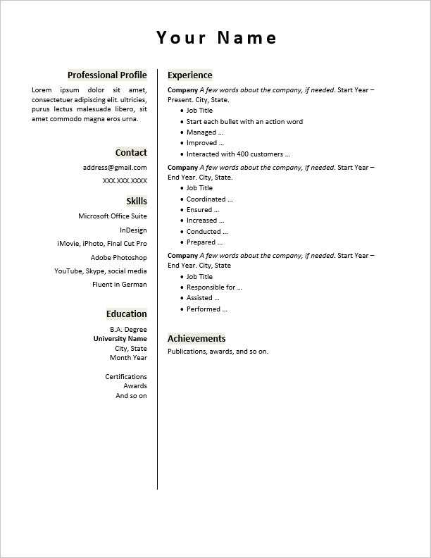 Use Word 2016 to Create Your Resume \u2013 Belleyre Books - words to use in your resume