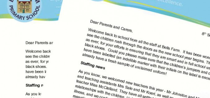 Bells Farm Primary School Enjoying our learning\u2026 Aiming for - teacher welcome back letter
