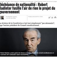 Robert Badinter dézingue la #déchéance de nationalité, M. #Valls tousse...