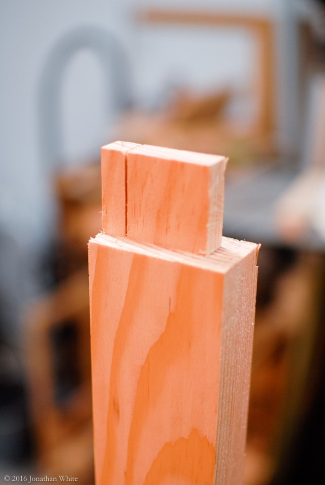 Cutting the tenons.