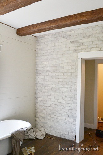 Whitewash Brick Fireplace How To White Wash Brick {bathroom Update} - Beneath My Heart