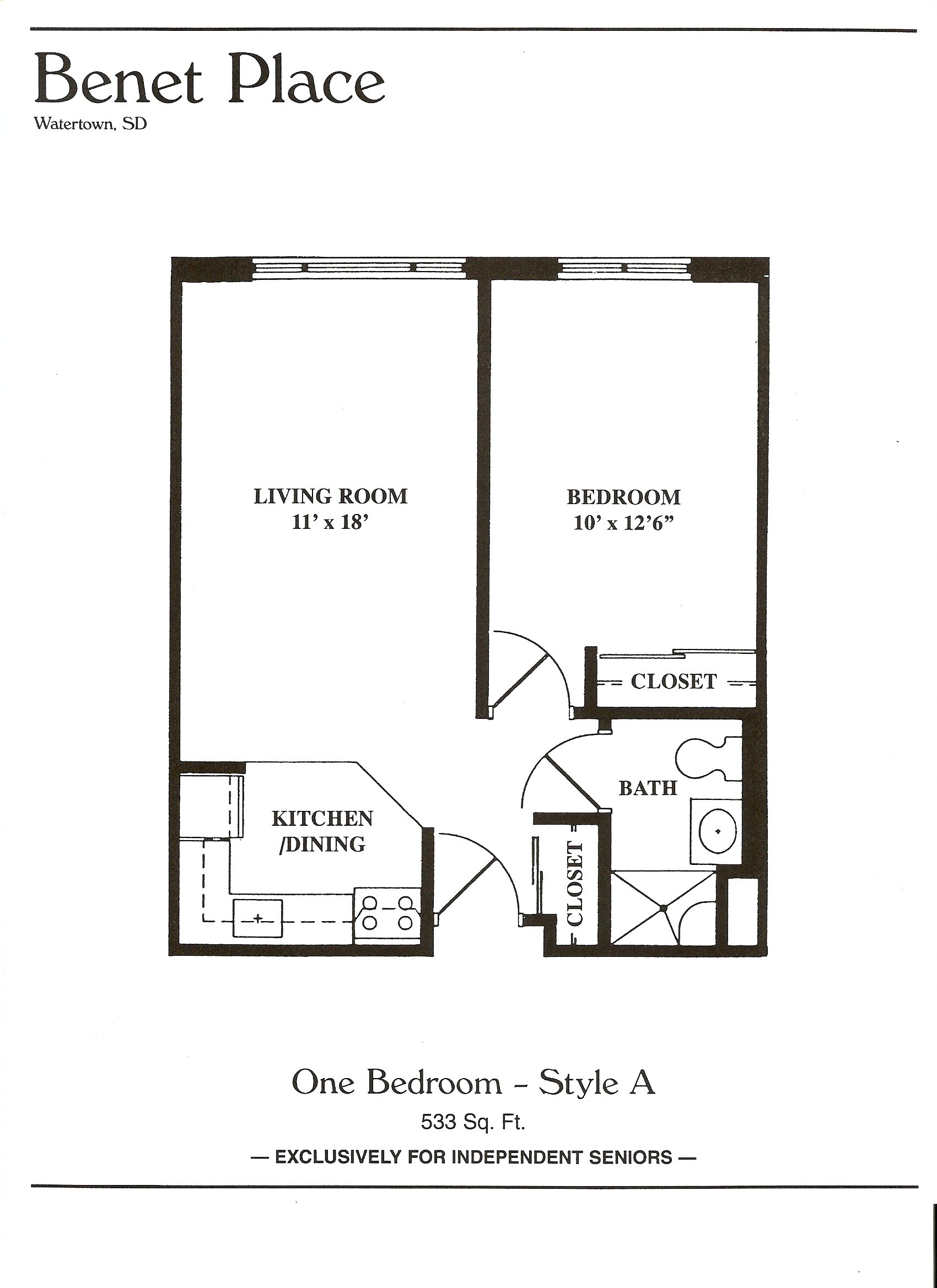 One Room Floor Plans Floor Plans Benet Place Senior Apartments Independent