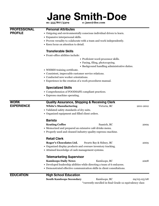 Resume Skills Barista Barista Resume Examples Sample Resume For Baristas  Resume Template Restaurant Server Resume Sample  Barista Resume Example