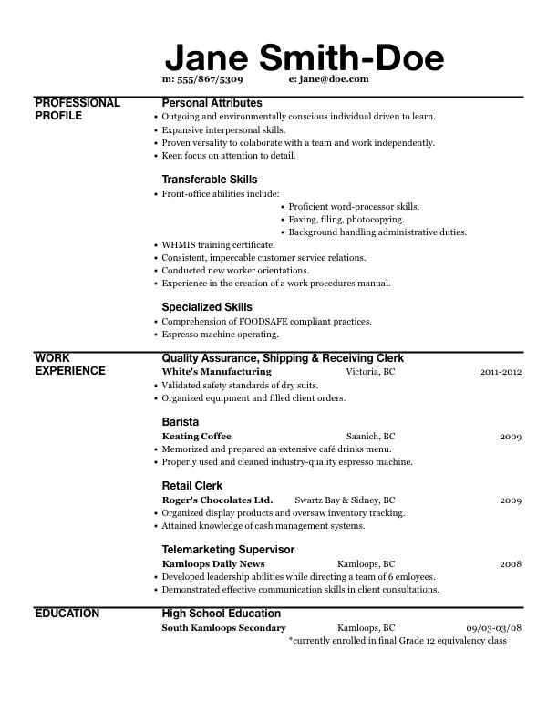 resume xls file