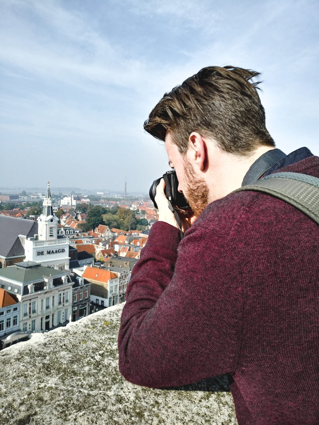 at the top of the St. Gertrude church tower