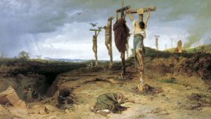 An 1878 painting Fyodor Bronnikov depicting the Roman crucifixion of slaves who revolted with Spartacus in the Third Servile War