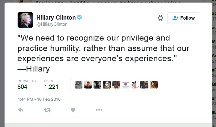 """Privilege"" no longer means anything when millionaire Hillary Clinton tells you to check yours"