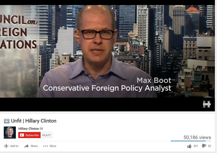 "Hillary Clinton ad features ""American imperialist"" Max Boot, ex-CIA/NSA Director Michael Hayden"
