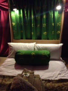 Four poster bed with royal crest