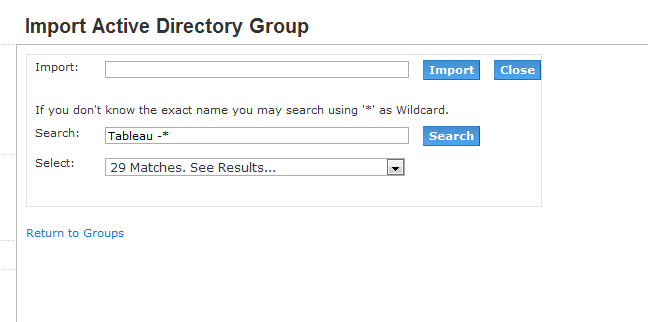 Import Active Directory Group into Tableau Server for Self-Service security configuration