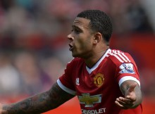 Manchester United's Dutch midfielder Memphis Depay gestures during the English Premier League football match between Manchester United and Newcastle United at Old Trafford in Manchester, north west England, on August 22, 2015. The game finished 0-0. AFP PHOTO / OLI SCARFF  RESTRICTED TO EDITORIAL USE. No use with unauthorized audio, video, data, fixture lists, club/league logos or 'live' services. Online in-match use limited to 75 images, no video emulation. No use in betting, games or single club/league/player publications.