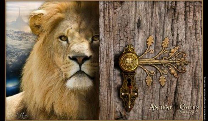 lion and door