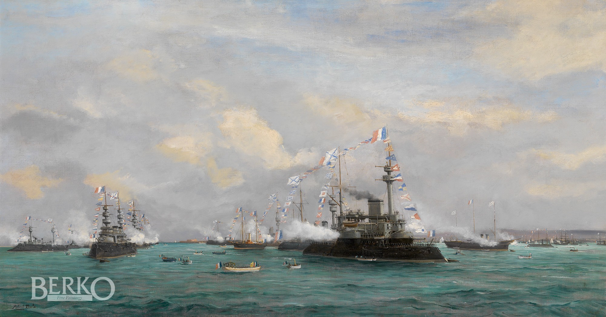 Nicolas Ii The Russian Squadron In Cherbourg Harbour During The Visit Of Tsar