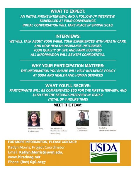 Earn $200 for participation in USDA/UVM Interview on Farmer Health
