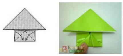 membuat origami kodok k