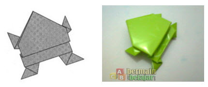 membuat origami kodok r