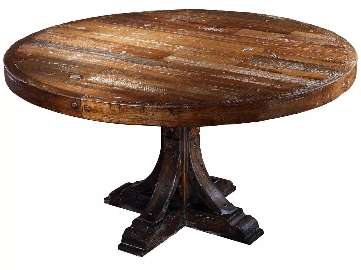 Furniture dining tables rustic style solid wood round dining table seth