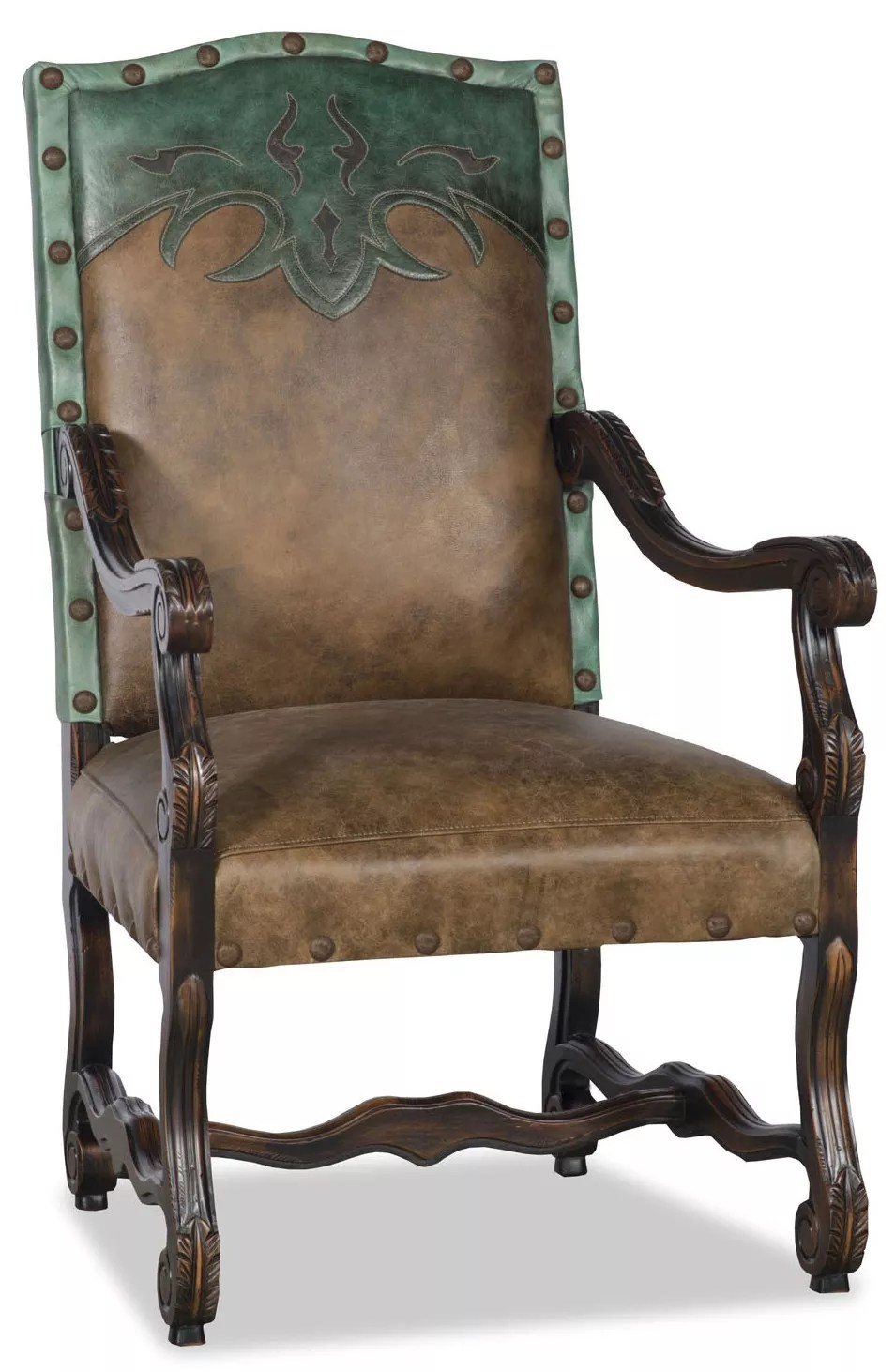 Leather Dining Room Chairs Western Style Leather Dining Room Chair With Arms
