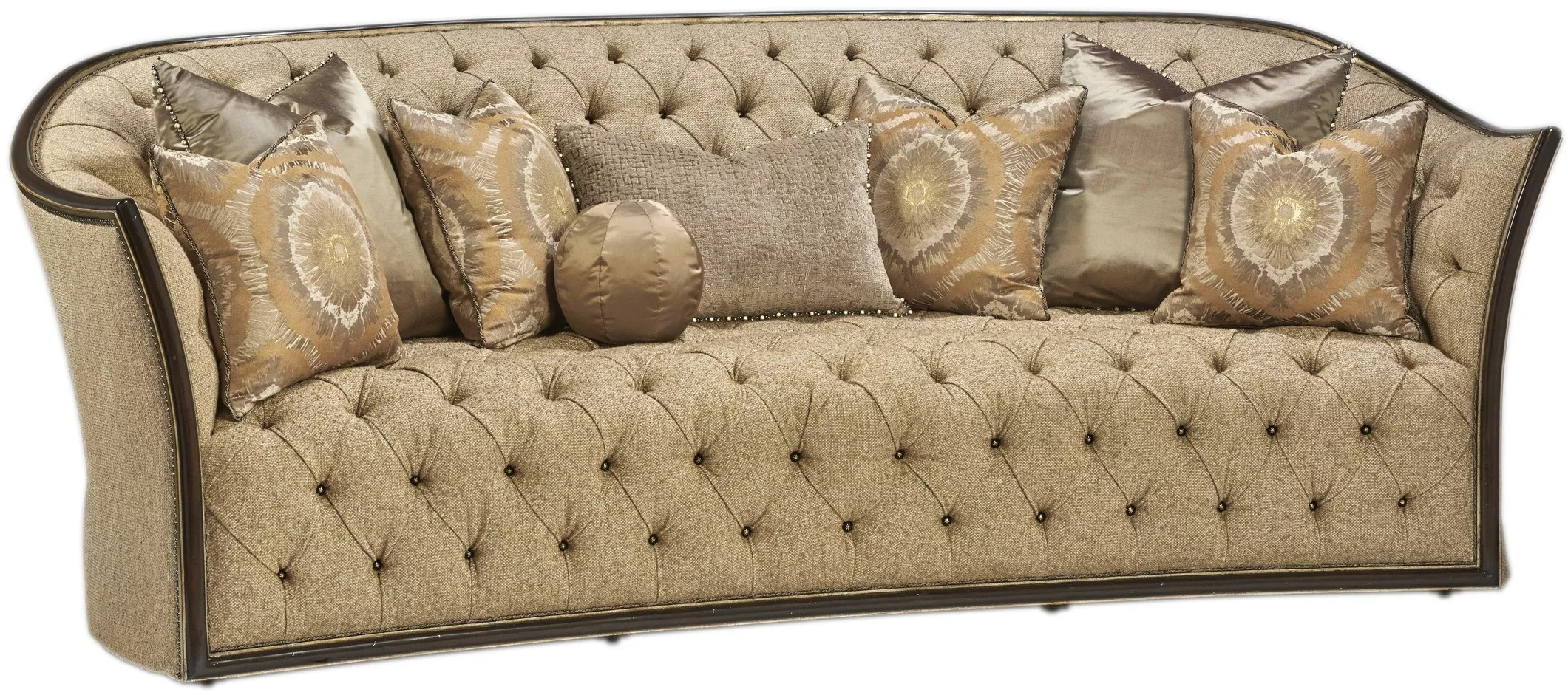 Curved Sofa Curved Sofa Covered In A Luxurious Tufted Oatmeal Fabric