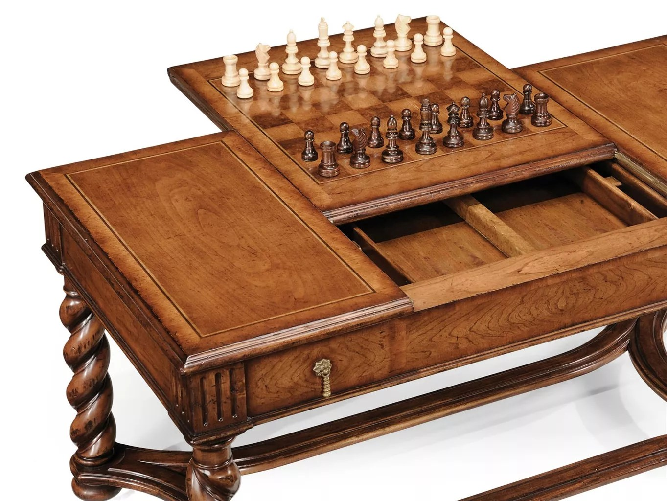 Chess Table Walnut Parquetry Coffee Table With Reversible Chess Board 06