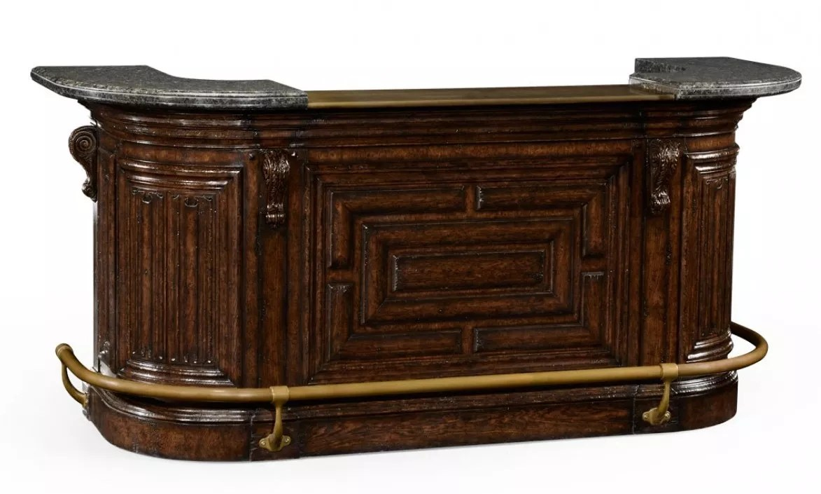 Home Bar Furniture Home Bar Oak Wood Granite Top With Brass Rail