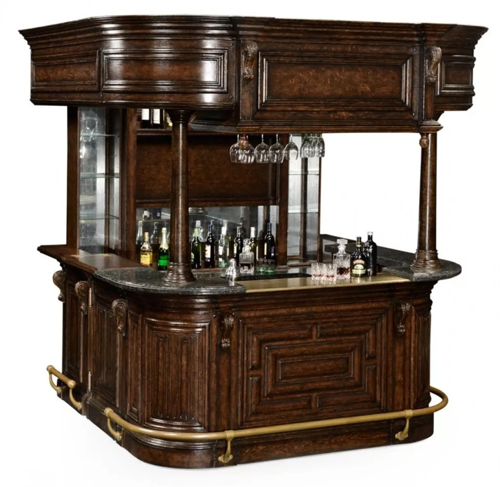 Home Bar Furniture Home Bar Oak Wood Granite Top With Brass Rail And Canopy