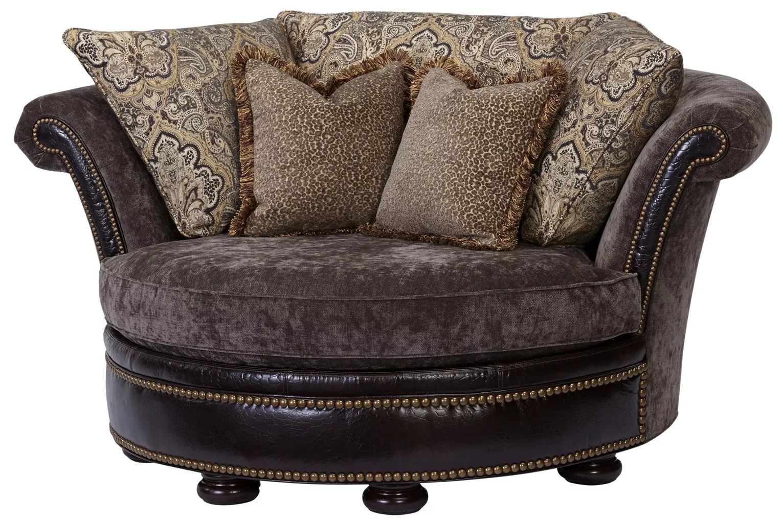 Leather Upholstered Lounge Round Chaise Lounge 2254