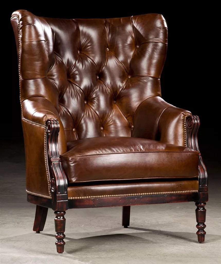 Library Chair Leather Tufted High Back 97 - Leather High Back Lounge Chair