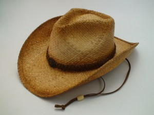 Western Straw Cowboy Hat with Leather Hat Band and Chin Cord