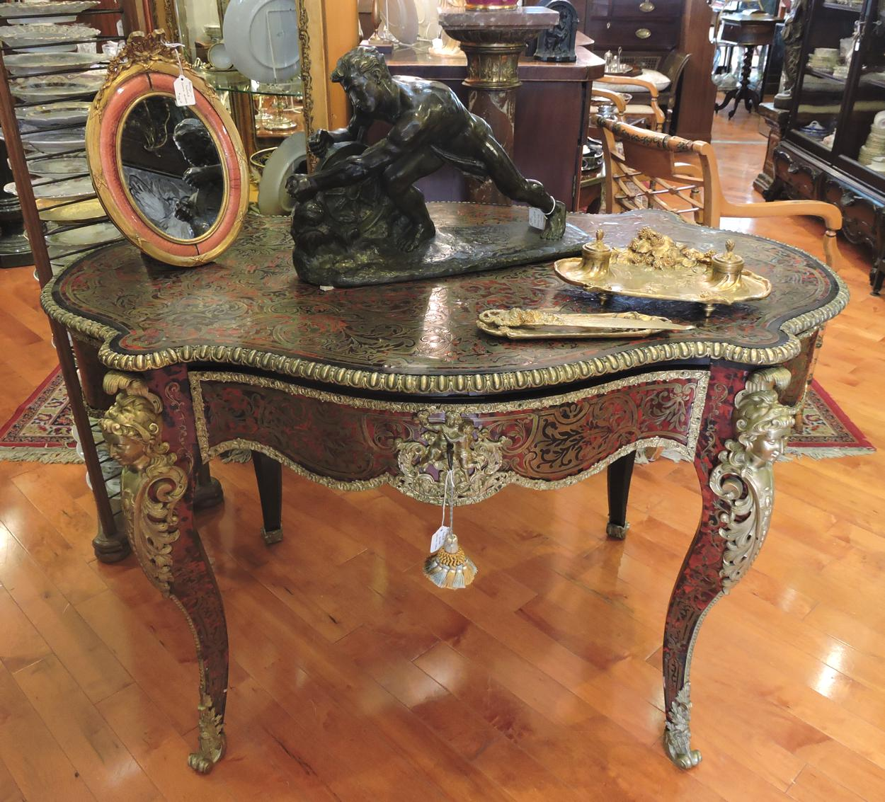 High Accent Tables Quality French Boulle Marquetry Writing Table Brass
