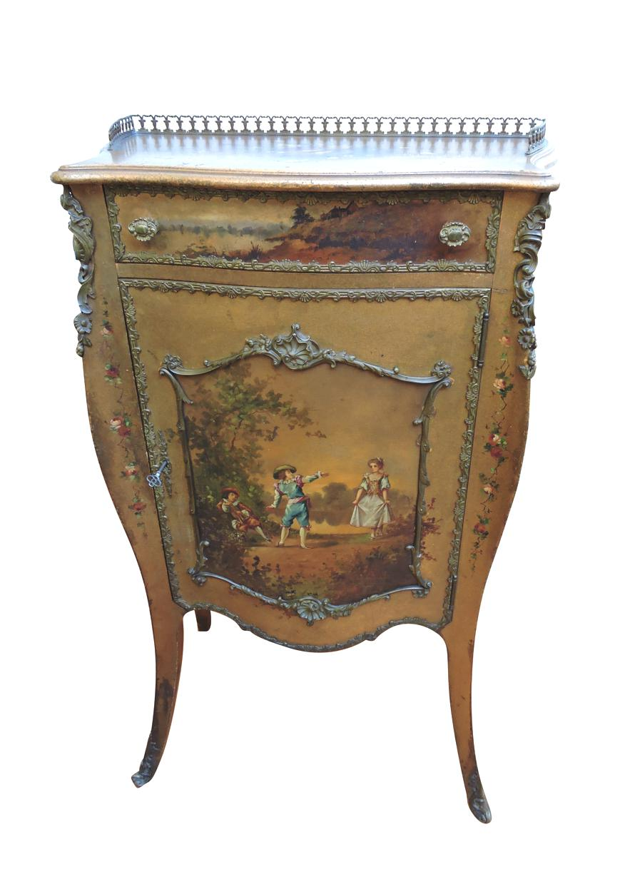 French Hand Painted Small Cabinet Circa 1920 Bernardis Antiques