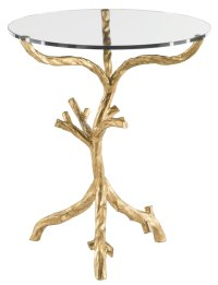 Round End Table Glass Top and Metal End Table Base | Bernhardt