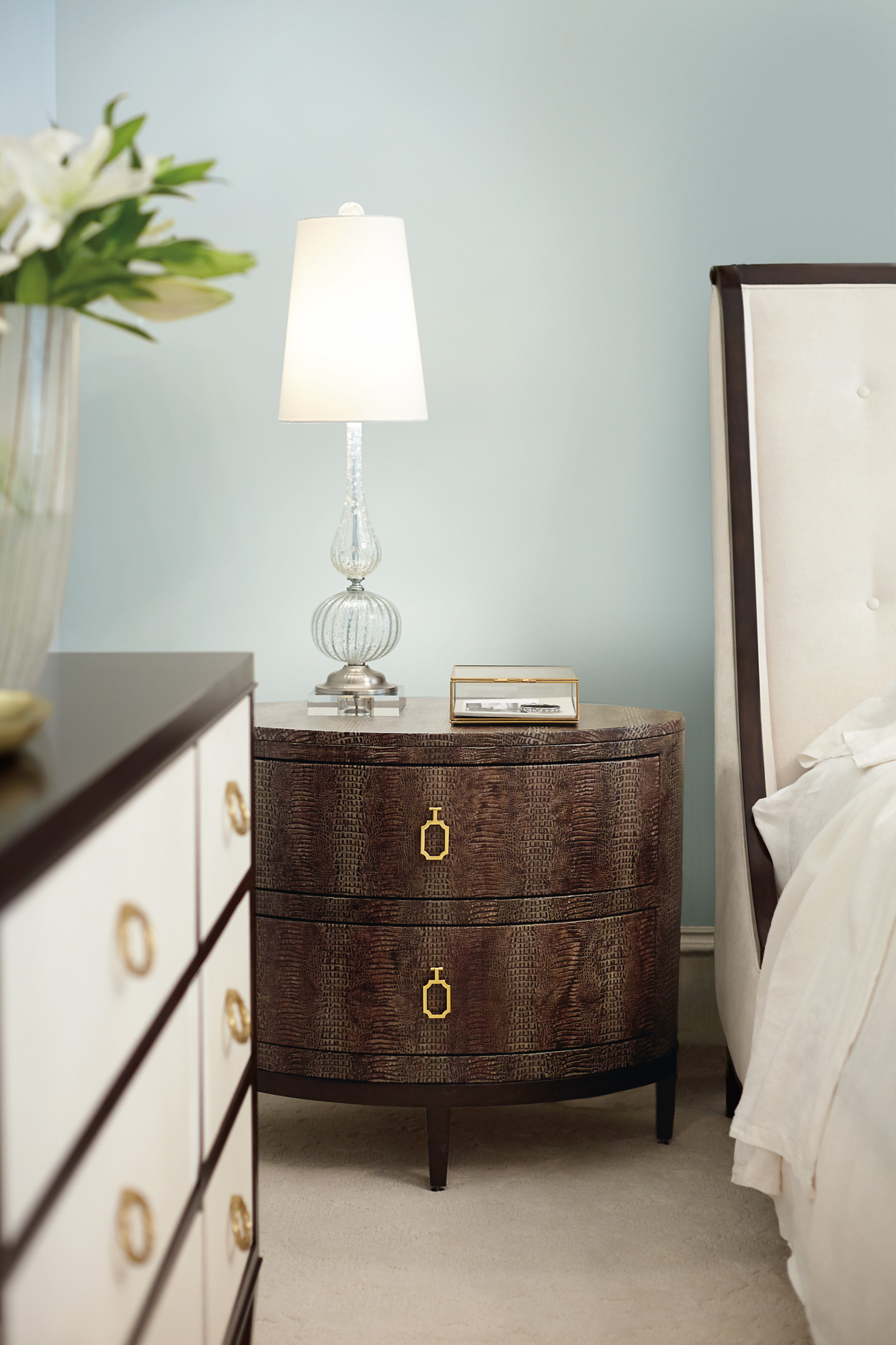 Jet Set Upholstered Bed And Oval Nightstand And Dresser Bernhardt