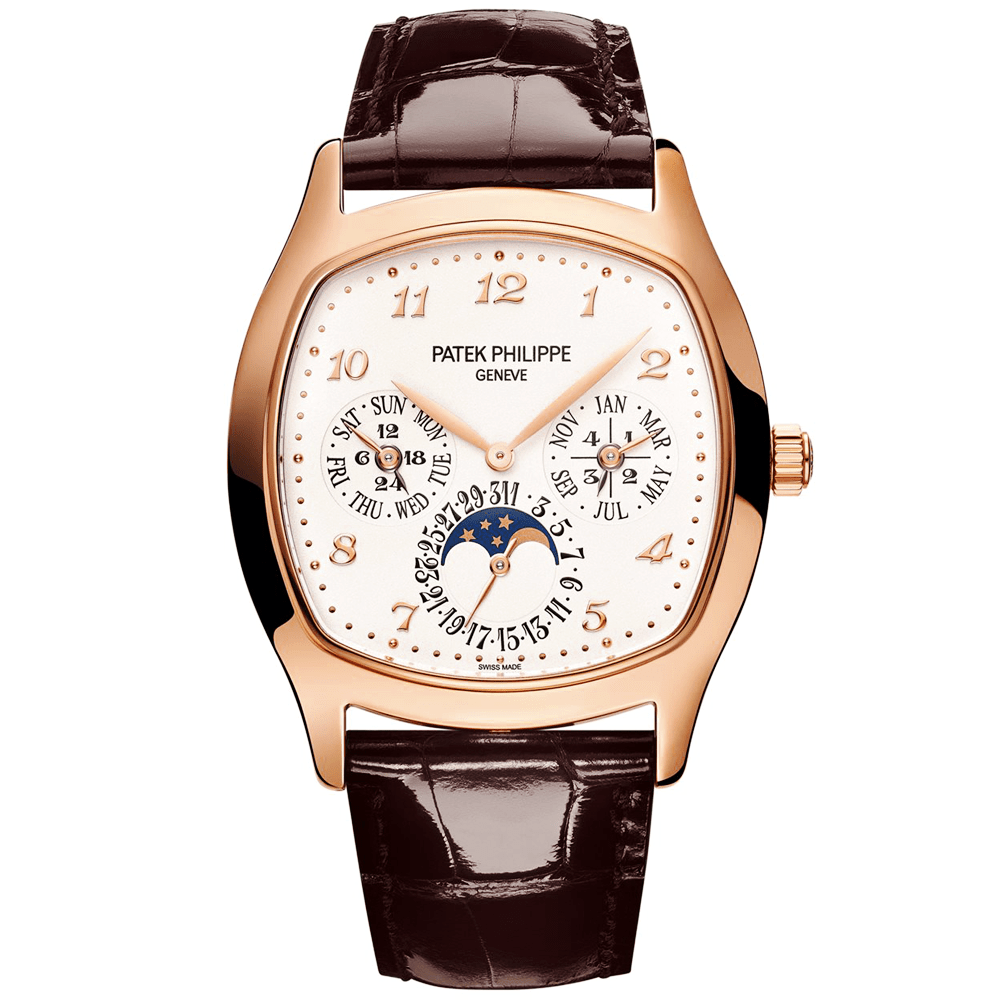 Leather Strap Rose Gold Watch Patek Philippe Perpetual Calendar 18ct Rose Gold Silver Dial Men S Leather Strap Watch