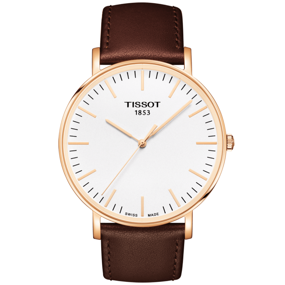 Leather Strap Rose Gold Watch Tissot Everytime 42mm Rose Gold Pvd Brown Leather Strap Watch