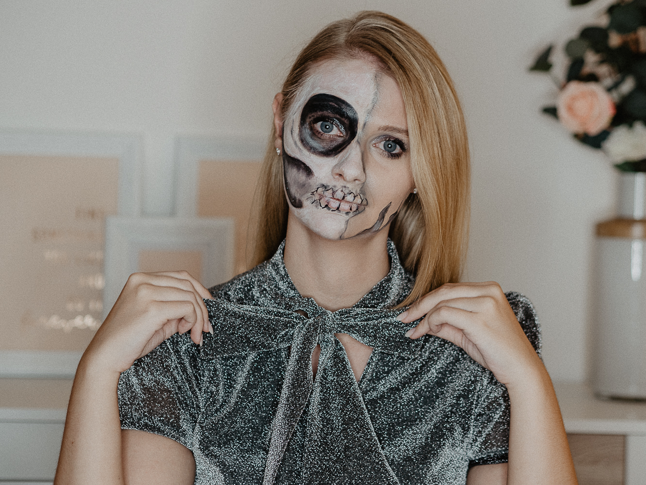 Halloween Make Up Anleitung Half Skull Halloween Makup Tutorial Mit Drogerieprodukten