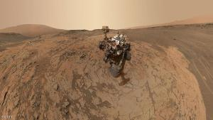 """MOUNT SHARP, MARS - JANUARY 2015:  In this handout provided by NASA/JPL-Caltech/MSSS  This self-portrait of NASA's Curiosity Mars rover shows the vehicle at the """"Mojave"""" site, where its drill collected the mission's second taste of Mount Sharp. The scene combines dozens of images taken during January 2015 by the MAHLI camera at the end of the rover's robotic arm.  (Photo by NASA/JPL-Caltech/MSSS via Getty Images)"""