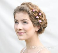 Pink Rose Wedding Hair Accessories, Bobby Hair Pins for